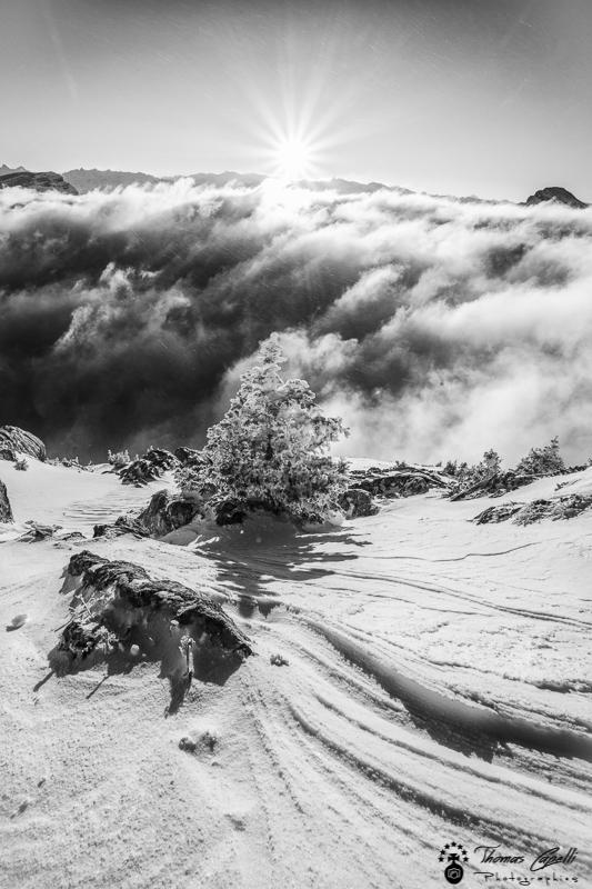le vent sculpte la neige au dessus de la mer de nuages  - Thomas Capelli